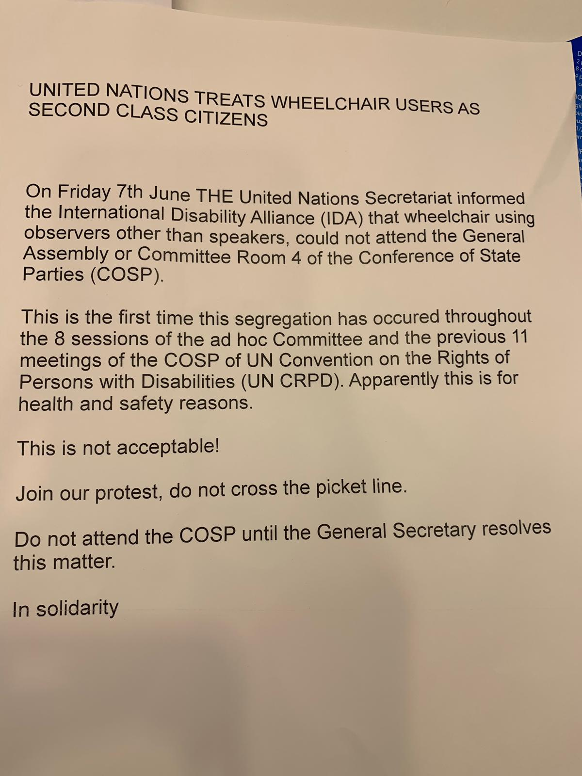 Leaflet given out at UN Picket 11th June 2019